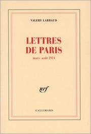 Cover of: Lettres de Paris, mars-août 1914