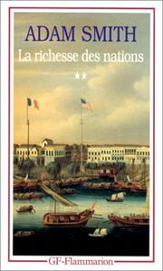 Cover of: La Richesse des nations. Tome II