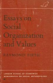 Cover of: Essays on social organization and values