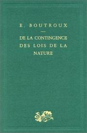 Cover of: De la contingence des lois de la nature