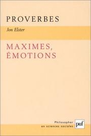 Cover of: Proverbes, maximes, émotions