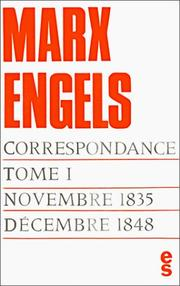Cover of: Correspondance, tome 1