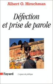 Cover of: Défection et prise de parole