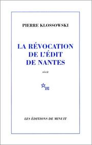 Cover of: La Revocation De Ledit De Nantes