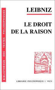 Cover of: Le droit de la raison