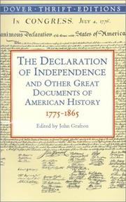 Cover of: The Declaration of Independence and other great documents of American history, 1775-1864