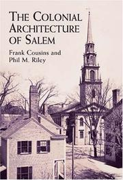 Cover of: The Colonial Architecture of Salem | Frank Cousins