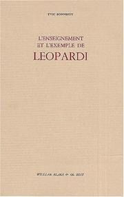 Cover of: L'enseignement et l'exemple de leopardi