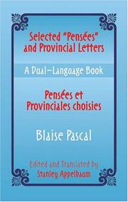 "Cover of: Selected ""Pensees"" and Provincial Letters/Pensees et Provinciales choisies"