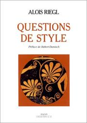 Cover of: Questions de style