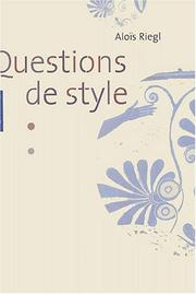 Cover of: Question de style
