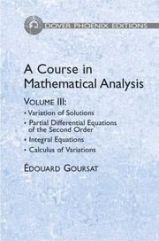 Cover of: A Course in Mathematical Analysis Volume 3