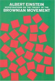 Cover of: Investigations on the theory of the Brownian movement