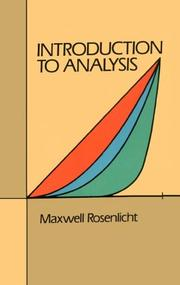 Cover of: Introduction to analysis | Maxwell Rosenlicht