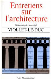 Cover of: Entretiens sur l'architecture
