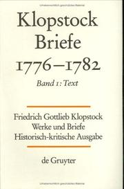 Cover of: Friedrich Gottlieb Klopstock Briefe, 1776-1782