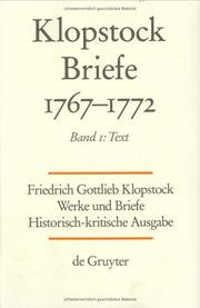 Cover of: Friedrich Gottlieb Klopstock Briefe 1767-1772: Text