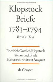 Cover of: Friedrich Gottlieb Klopstock: Briefe 1783-1794: Text