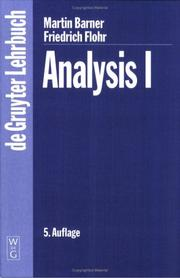 Cover of: Analysis I