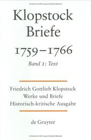 Cover of: Friedrich Gottlieb Klopstock: Briefe 1756-1766
