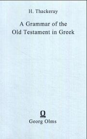 Cover of: A Grammar of the Old Testament in Greek According to the Septuagint