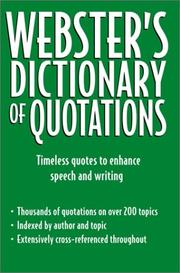 Cover of: Webster's dictionary of quotations