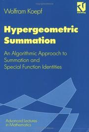 Cover of: Hypergeometric Summation (Viewed Advanced Lectures in Mathematics Series) | Wolfram Koepf