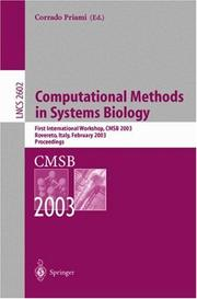 Cover of: Computational Methods in Systems Biology | Corrado Priami