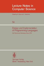Cover of: Design and Implementation of Programming Languages |