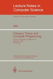 Cover of: Category Theory and Computer Programming |