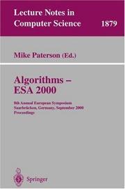 Algorithms, Esa 2000: 8th Annual European Symposium, Saarbrücken, Germany, September 5 8, 2000: Proceedings