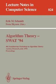 Cover of: Algorithm Theory - SWAT