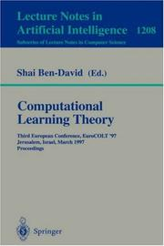 Cover of: Computational Learning Theory | Shai Ben-David