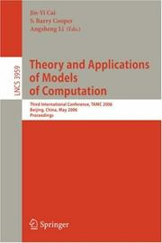 Cover of: Theory and Applications of Models of Computation |
