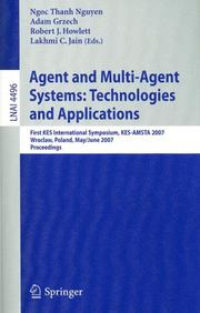 Cover of: Agent and Multi-Agent Systems: Technologies and Applications |