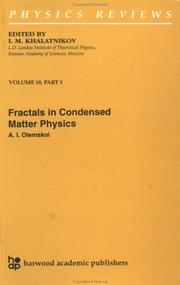 Cover of: Fractals in Condensed Matter Physics (Physics Reviews)