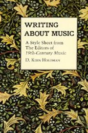 Cover of: Writing about music