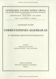 Cover of: Commentationes algebraicae ad theoriam aequationum pertinentes