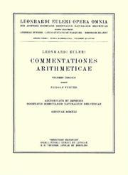 Cover of: Commentationes algebraicae ad theoriam combinationum et probabilitatum pertinentes