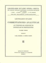 Cover of: Commentationes analyticae ad theoriam serierum infinitarum pertinentes 1st part
