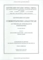 Cover of: Commentationes analyticae ad theoriam integralium pertinentes 3rd part