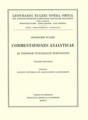 Cover of: Commentationes analyticae ad theoriam integralium ellipticorum pertinentes 1st part