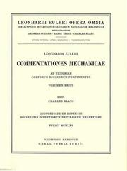 Cover of: Mechanica sive motus scientia analytice exposita 1st part