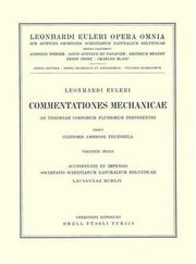 Cover of: Commentationes mechanicae ad theoriam corporum fluidorum pertinentes 1st part