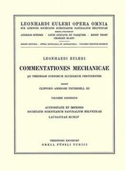 Cover of: Commentationes mechanicae ad theoriam corporum fluidorum pertinentes 2nd part