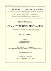 Cover of: Commentationes mechanicae et astronomicae ad physicam pertinentes (Leonhard Euler: Opera Omnia, Series II)