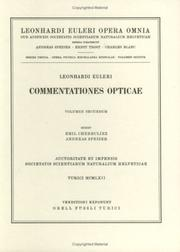 Cover of: Commentationes opticae 2nd part
