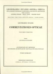 Cover of: Commentationes opticae 3rd part