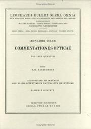Cover of: Commentationes opticae 4th part
