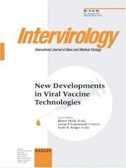 Cover of: New Developments in Viral Vaccine Technologies (Intervirology) |